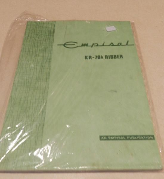 Empisal KR-70A Ribber Manual with Bonus Knit 'N' Weave Pattern Supplement. As new condition. This item will require Satchel Size Shipping within Australia.Plea