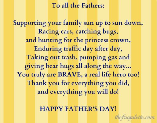 Happy Fathers Day! You Are the Bravest of Them All! poem