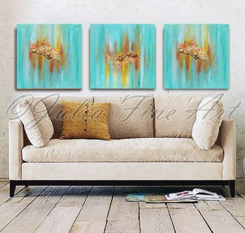 This Original Contemporary Hand-painted Rich Texture Mixed Media #Abstract #Triptych ''Maldivian Memories'' is painted on gallery wrapped acid free canvas. No need to frame. ... #art #painting #print #abstract #watercolor #triptych