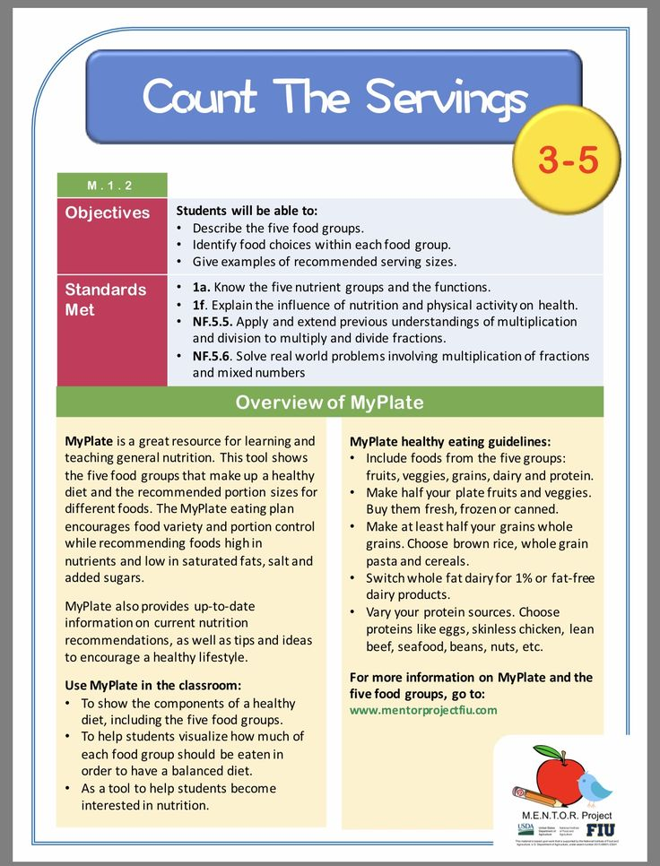 General Nutrition Math Lesson Plan For Grades   General