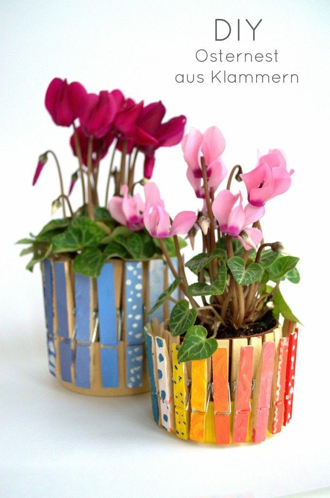 DIY-Anleitung: Blumentopf aus Klammern via annundfuermich.de