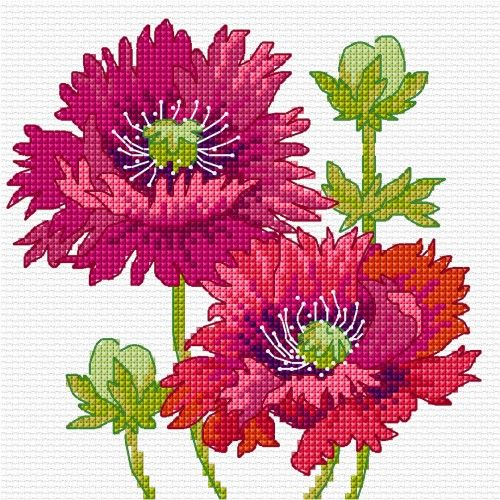 LJT102 Summer poppies | Lesley Teare Needlework and Cross Stitch Chart Designs
