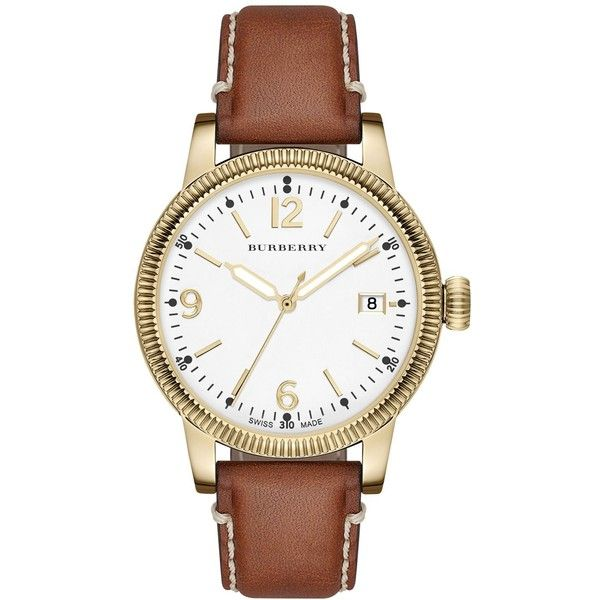 Burberry Women's Swiss Tan Leather Strap Watch 38mm BU7852 ($595) ❤ liked on Polyvore featuring jewelry, watches, no color, burberry watches, burberry, burberry jewelry and leather strap watches