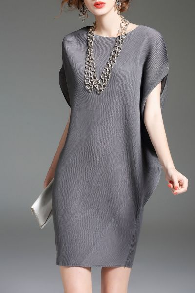 Eveda.cc Gray Batwing Sleeve Mini Shift Dress | Mini Dresses at DEZZAL Click on picture to purchase!