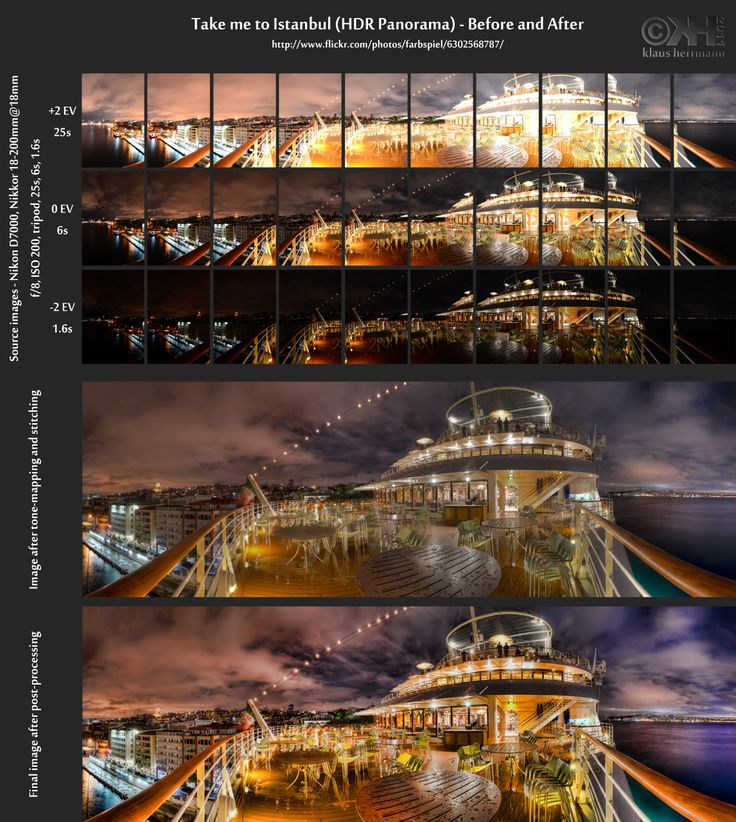 "This is the before-and-after comparison of ""Take me to Istanbul (HDR #Panorama)"". The final #image was created from 10×3 TIFF files (10 series of 3 autobracketed RAW images that were converted to TIFFs using Abobe Camera RAW). You can see the 30 source images at the top. These images were merged into 10 32-bit #HDRs and tone-mapped with #Photomatix Pro 4.0 (details enhancer option) using the same settings for each image...Hdr Panorama, Hdr Photography"