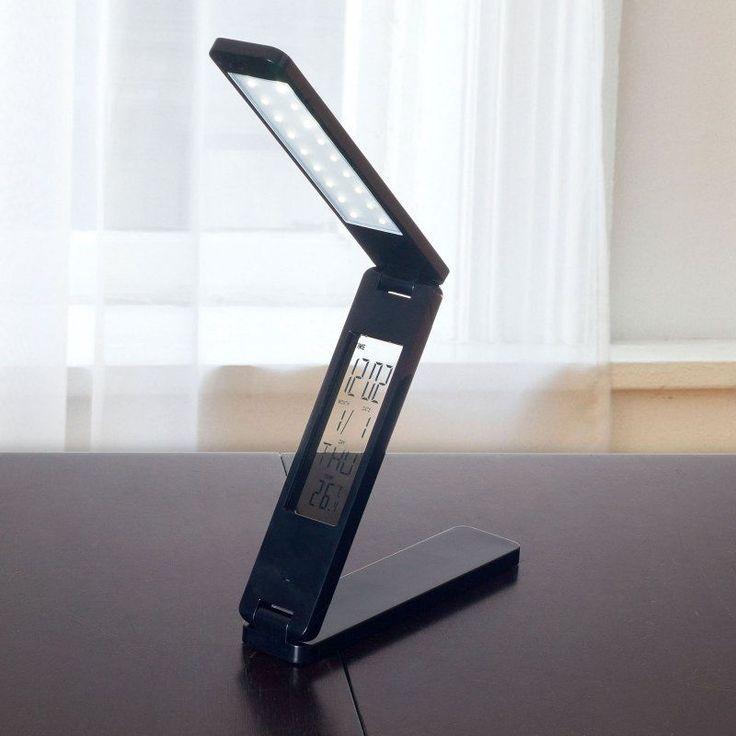 Lavish Home LED Folding Lamp Book Light Clock Calendar Alarm