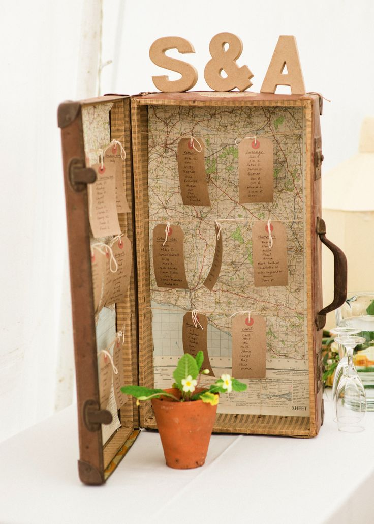 Rustic suitcase table plan. A gorgeous rustic wedding on a working farm. Images by Stephanie Swann #tableplan #seating