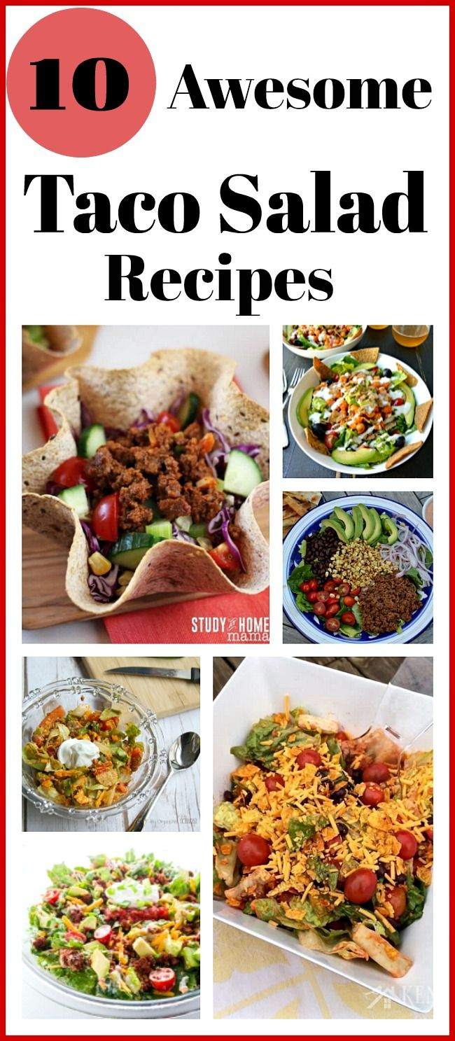 10 Quick and Easy Taco Salads- You can have the delicious flavor of Mexican food while still being healthy! Here's how to make quick and easy taco salads! | recipes for busy moms, healthy, dinner, lunch