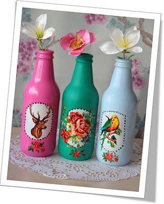 bierflesjes verven, poezieplaatje erop en gaan! :) pretty vases
