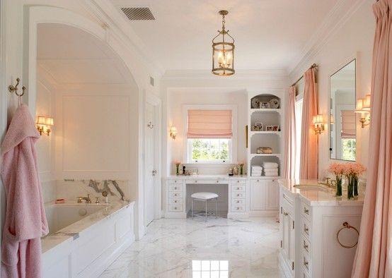 : Pink Pink Pink, Bathroom Design, Dreams Houses, Dreams Bathroom, Beautiful Bathroom, Bathroom Ideas, White Bathroom, Master Bathroom, Pink Bathroom