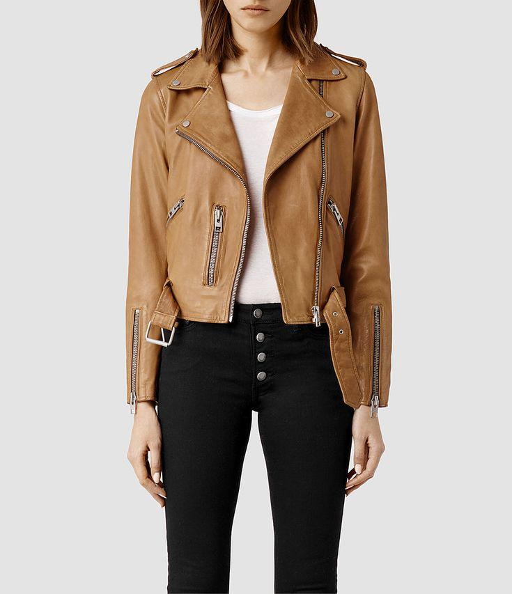 Women's Wyatt Leather Biker Jacket (PALE) -