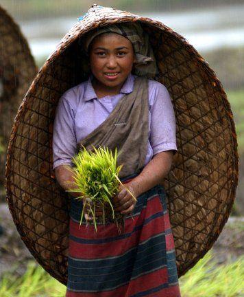 "Great idea - Like a whole-body umbrella: Khasi farmer in traditional ""Knup"""