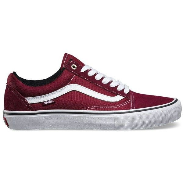 Vans Old Skool Pro ($65) ❤ liked on Polyvore featuring men's fashion, men's shoes, men's sneakers, red, mens red shoes, vans mens shoes and mens red sneakers