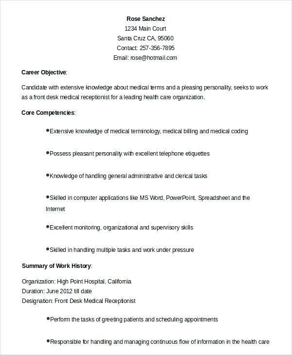 Free Resume Template Receptionist Freeresumetemplates
