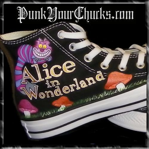 ohhh I would LOVE some Alice themed converse! -- NOT the Disney or Tim Burton versions though...classic B&W Tenniel!! YESSSS :)