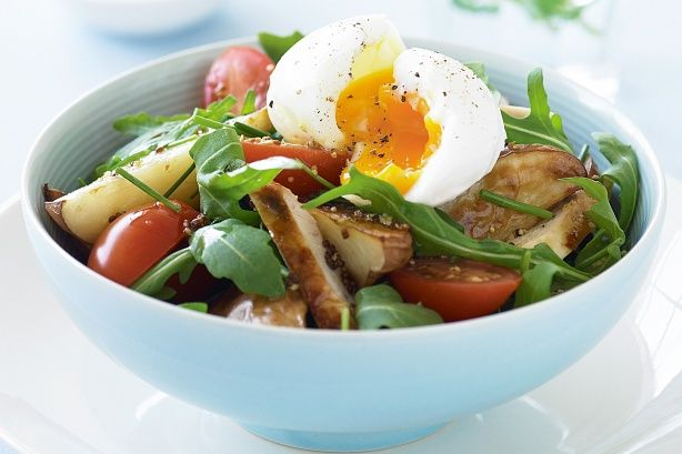It doesn't matter which came first - chicken and eggs taste delicious in this healthy salad.