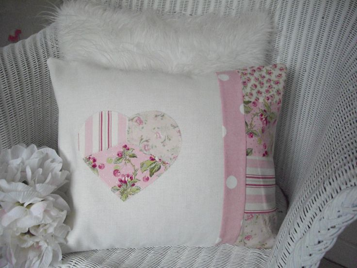 SHABBY CHIC CUSHION Pink Fabric Patchwork Squares