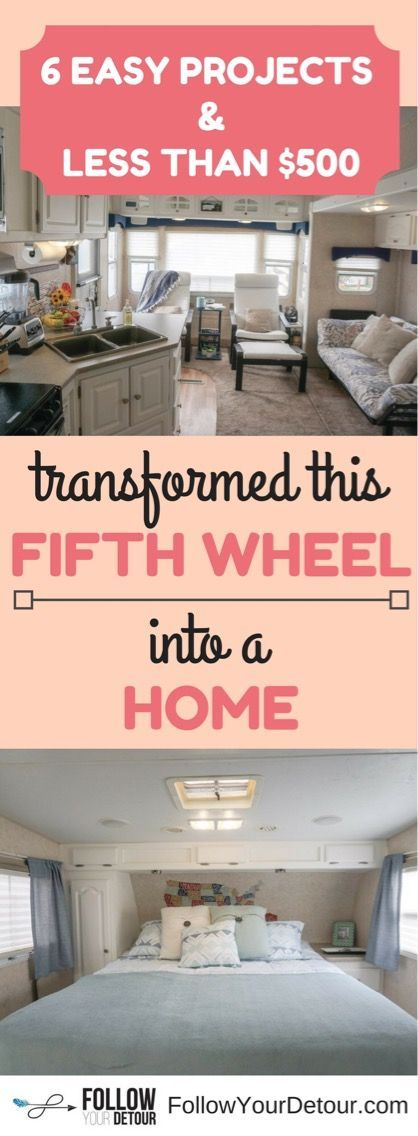Easy, quick, cheap RV remodel tips. See how we transformed our fifth wheel camper into our home for full-time RV living for under $500!