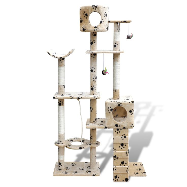 Cat Tree Scratching Post Beige Kitten Pet Scratcher Bed Activity Tower Kitty Paw