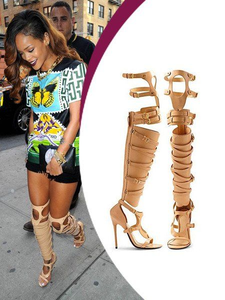 Rihanna Boots beige leather belts and buckles embellished open toe ...