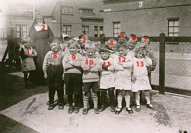 Leerlingen van de bewaarschool Tivoli op het Arnaudinaplein Kent u de namen?  Auteur: niet vermeld - 1932