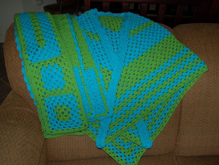 Prayer Shawl and two scarves, green and blue acrylic yarn; 12.28.17