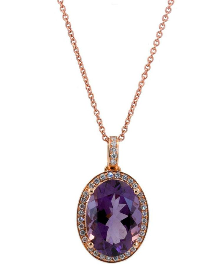 This stunning necklace features an 11.30ct oval cut Amethyst. The rich purples tones look fantastic in the 18k rose gold and 0.40cts of diamonds. This would sparkle around her neck. www.gembycarati.com www.facebook.com/gembycarati