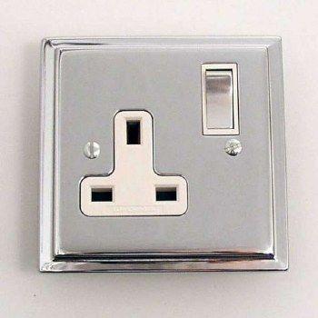 Modern Plug Socket Chrome 1 Gang Switched