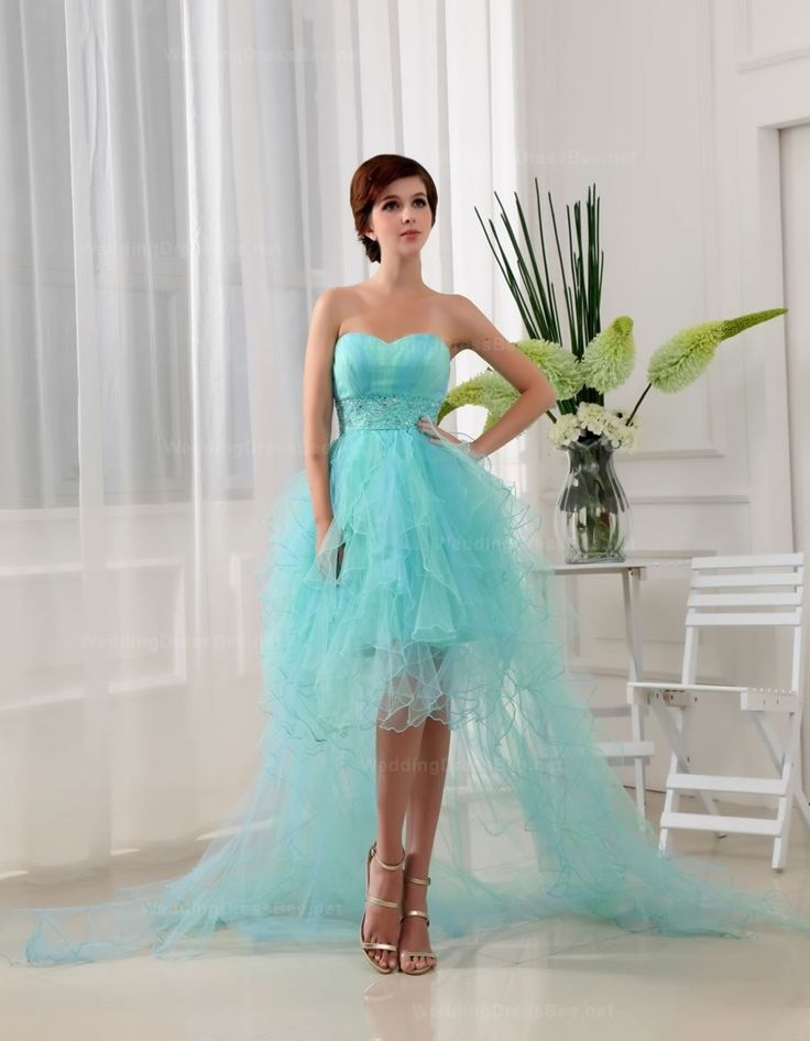 Fashion Sweetheart With Empire Waist High-Low Hem Chaepl Train Evening Dress