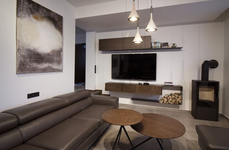 living room with custom made furniture and original abstract painting