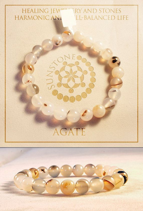 Light Color Agate Gemstone Bracelet by Sunstone by SunstoneCraft