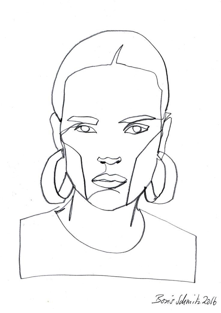 """Gaze 467″, continuous line drawing by Boris Schmitz"