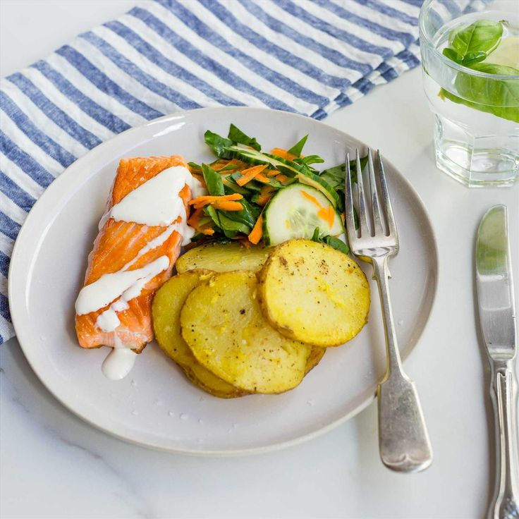 Pan-Fried Salmon with Lemon Mayo, Zesty Potato Rounds and Salad