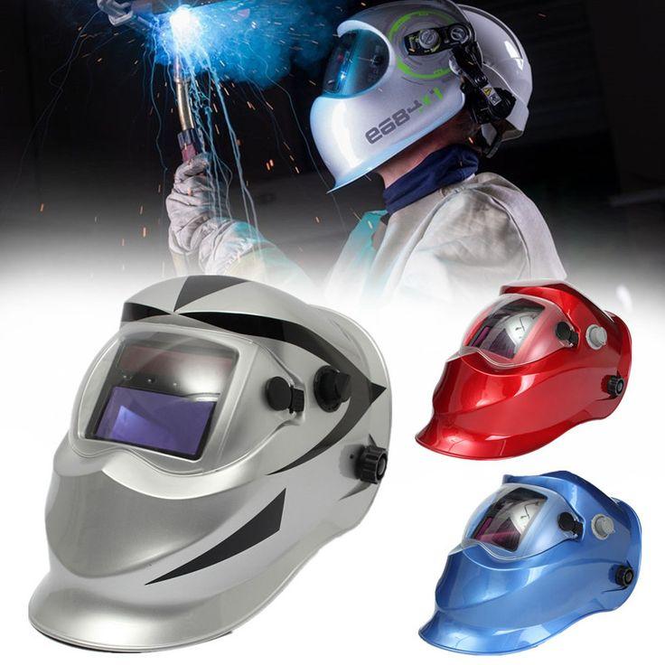 Solare scurimento auto maschera saldatore casco elettrosaldatura saldatura TIG maschera lente saldatore mig blu scuro / rosso