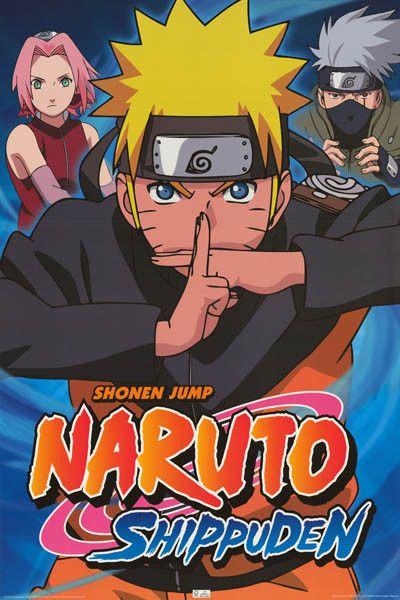 Naruto Shippuden Cast Naruto Sakaru Kakashi Cartoon Poster 24x36