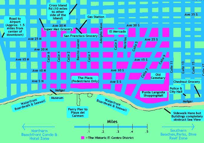 Cozumel Map:El Centro