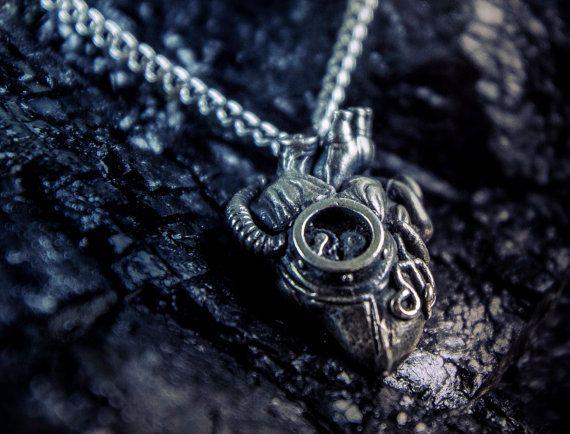 Steampunk heart  - Mechanical -Anatomy - silver chain - box- matt silver