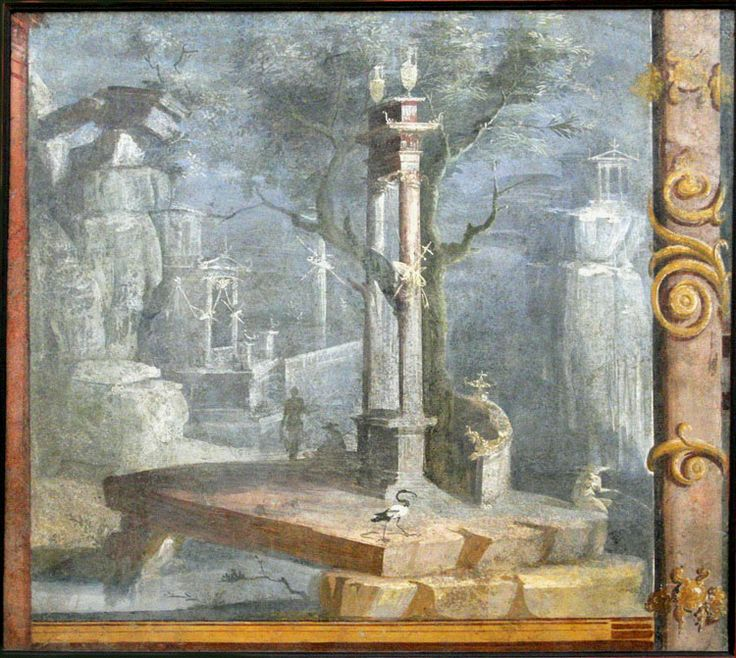 Pompeii painting from temple of isis museo archeologico for Ancient roman mural