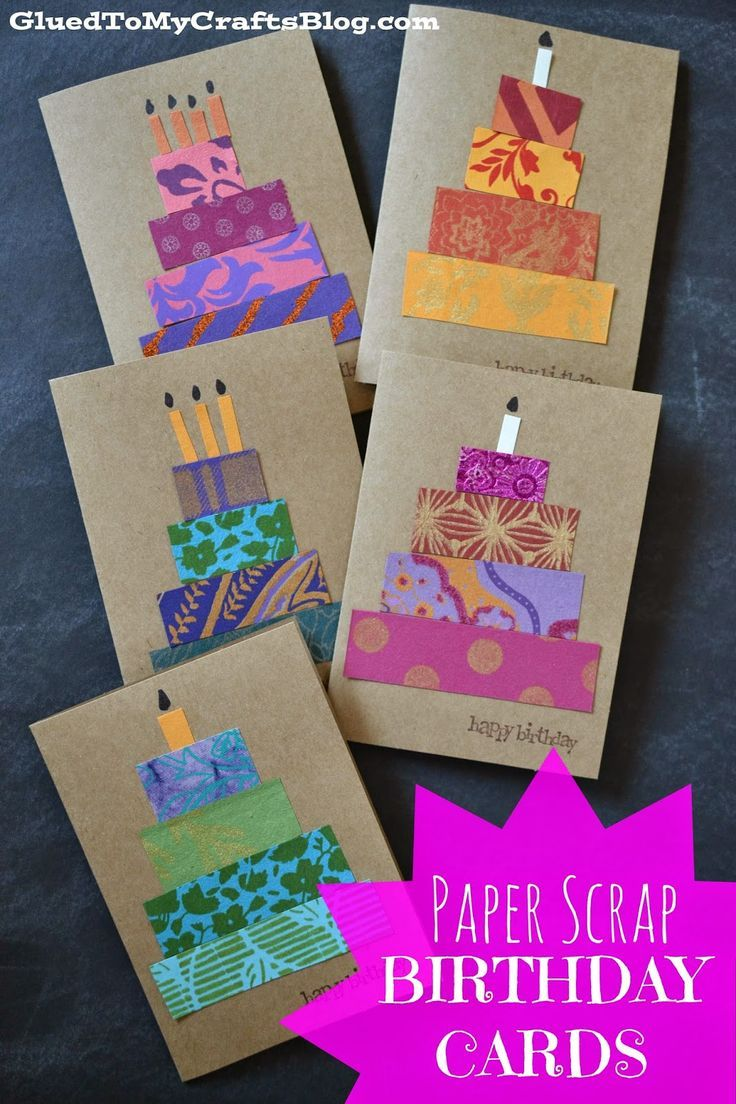 Paper Scrap Birthday Cards {Craft Idea} #StickyU                                                                                                                                                                                 More