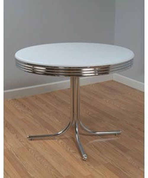 Retro Dining Table Round Furniture Dinette Kitchen Room