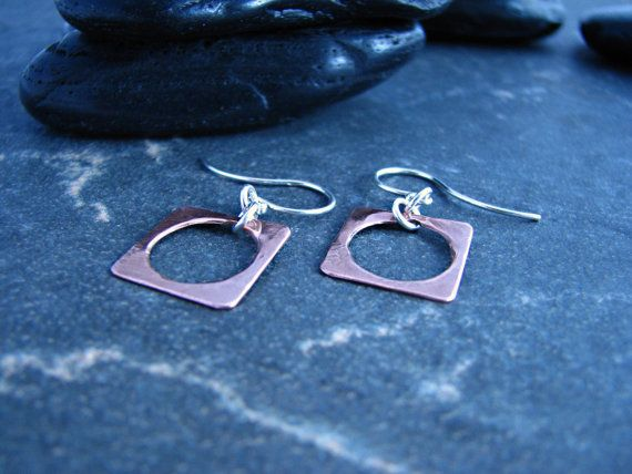 Copper Square Earrings with Circular Cutout by melmacdesigns, $25.00