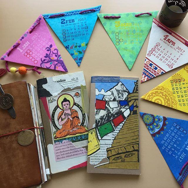 New 2017 Calendar & more collage using previous ones✨ The new one is awesome ❗️ 2017年のカレンダーのひとつはこれだぁ🎶これもネパールのものだったかな。早くも切り取りたい衝動が起こるが我慢するっ❗️ … … … #travelersnotebook#travelersfactory#トラベラーズノート#トラベラーズファクトリー #midoritravelersnotebook#手帳#stationery #diary#文具#日記#文房具#notebook#journal#Buddha#boddhisattva#lotus#蓮#nepal#アジア雑貨