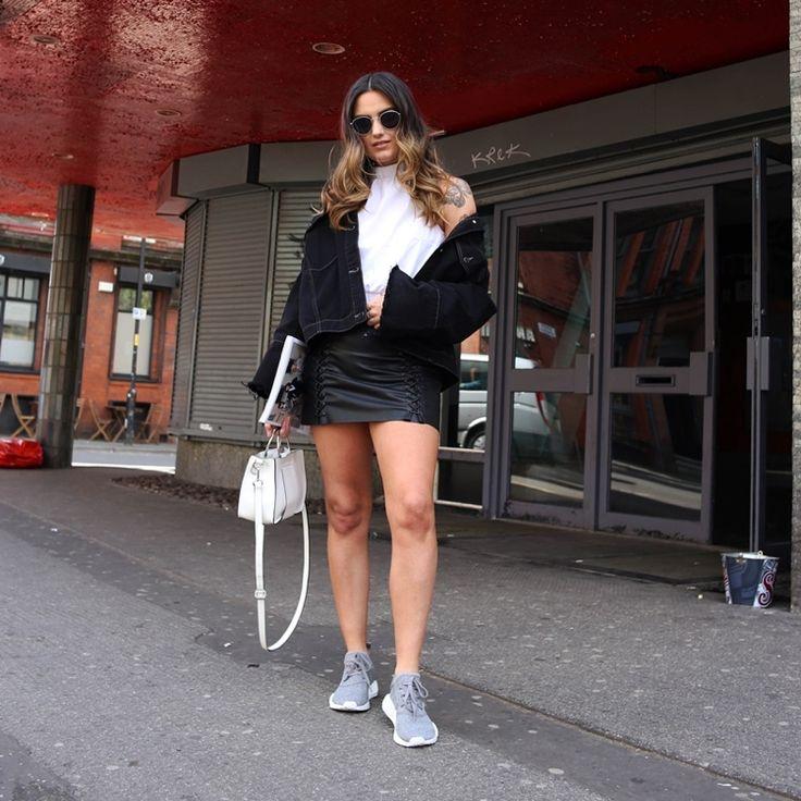 Adidas Sneaker NMD Kollektion grau Leder Minirock #fashion #style
