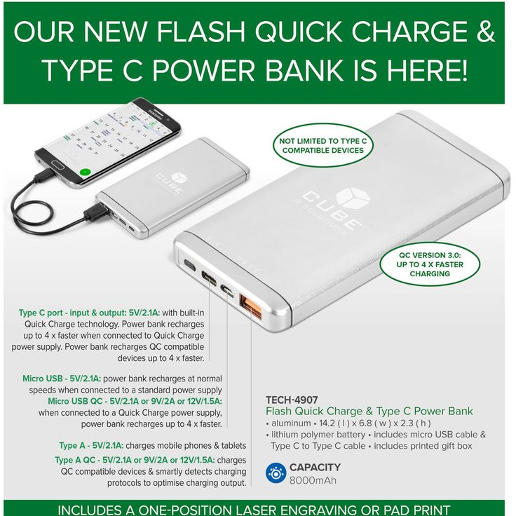 With Quick Charge technology, Smart Charge circuitry and a Type C port, our new second generation Flash Power Bank takes power bank functionality to the next level.  If you're serious about back-up power and require a power bank that can charge connected devices and be recharged itself in the fastest possible time, Flash is the power bank for you!  Featuring a 8000mAh lithium polymer battery, it is presented in a printed gift box, together with a micro USB cable & Type C to Type C cable…