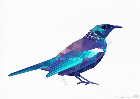 Tui 2 Native New Zealand Bird Geometric print by tinykiwiprints, $7.99