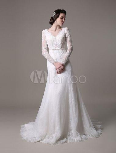 Vestido de noiva vintage Lace 2016 a linha com apliques de pérolas de mangas compridas e trem da capela - Milanoo.com