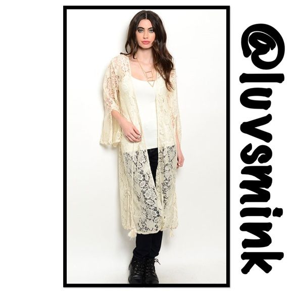 CREAM LACE KIMONO - MEDIUM Another gorgeous and feminine lacy kimono; fit for a queen. Lovely bell sleeves with an open slit.  Open front kimono has long tassels to tie or leave hanging. Side slits at the bottom of the kimono for a beautiful flow of fabric.  100% polyester, length of all sizes is 45 inches. Size Small shoulder to shoulder is 15.5, bust is 32; Medium is shoulder to shoulder 16, bust is 34/36; Large is shoulder to shoulder 17, bust is 38/40.  This listing is for a Size MEDIUM…