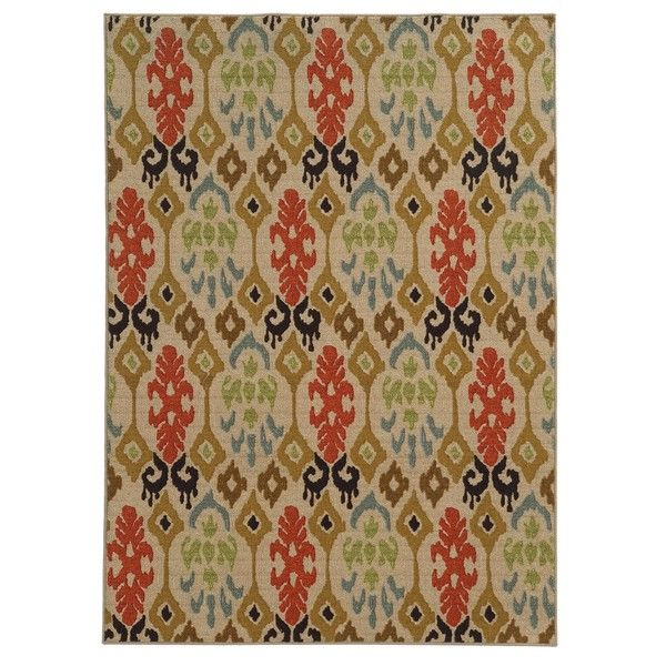 Loop Pile Ikat Design Beige/ Multi Nylon Rug (3'3 x 5'5) - Overstock™ Shopping - Great Deals on Style Haven 3x5 - 4x6 Rugs