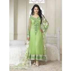 Jennifer Winget (Kumud) Light Green and White Anarkali Suit