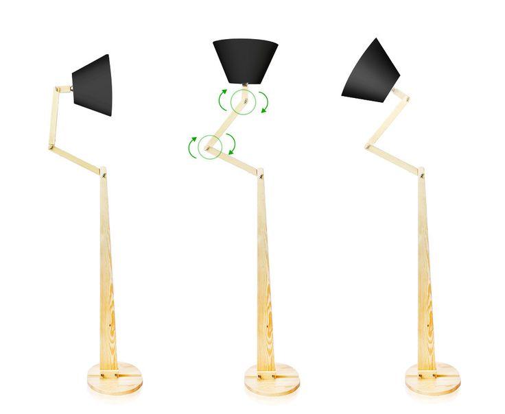 500,- 9 to lampa podłogowa marki LIGHTWOOD, wykonana z elementów naturalnego drewna sosny. Abażur wykonany jest z czarnego materiału. Projekt zakłada manewrowanie krótszymi ramionami lampy w celu dostosowania kształtu i kierunku padania światła. Dużym atutem lampy jest ciekawy przewód wykonany z czerwonego materiału z czarnym włącznikiem nożnym dla łatwiejszego użytkowania. Lampa podłogowa stanowi idealne uzupełnienie zarówno stylowych sypialni jak i gustownych pokojów dziennych i s...